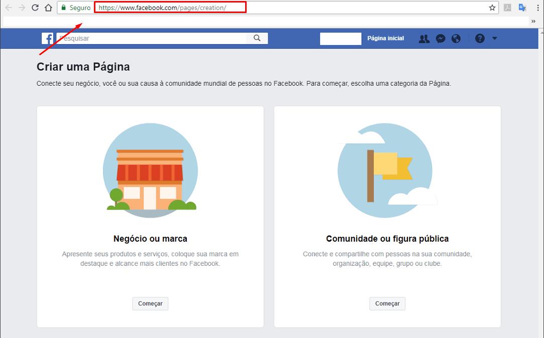 Como Criar uma Página no Facebook passo 1