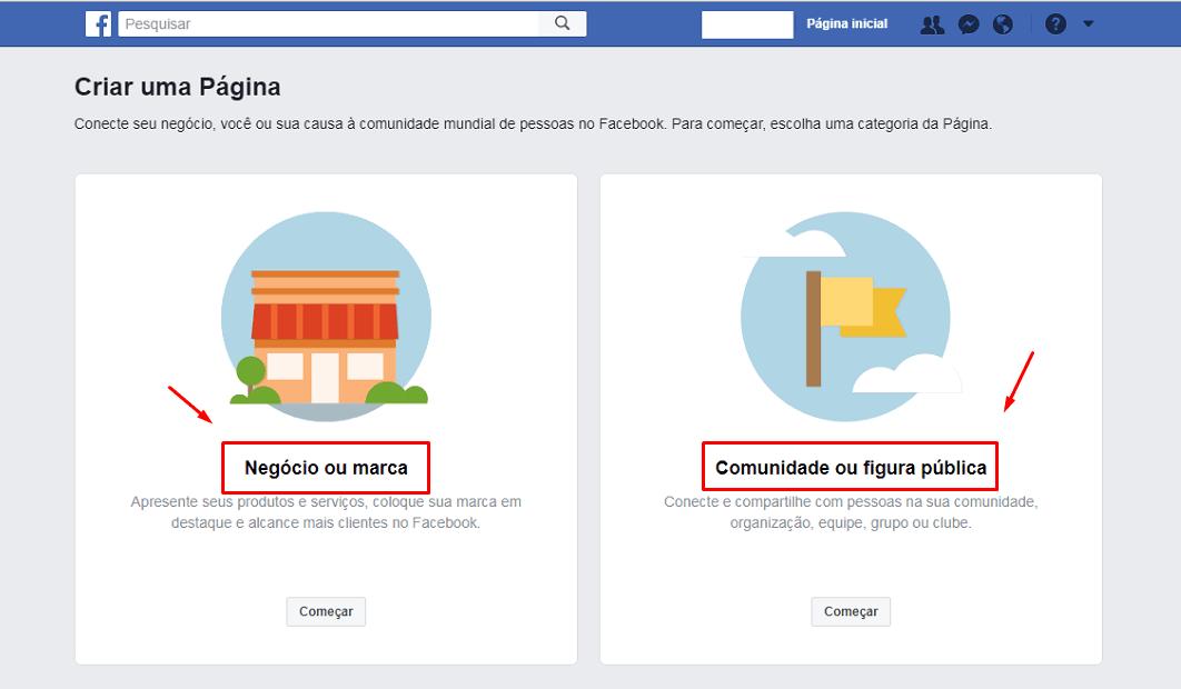 Como Criar uma Página no Facebook passo 2