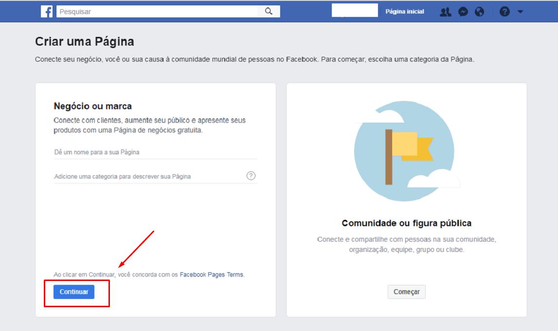 Como Criar uma Página no Facebook passo 4