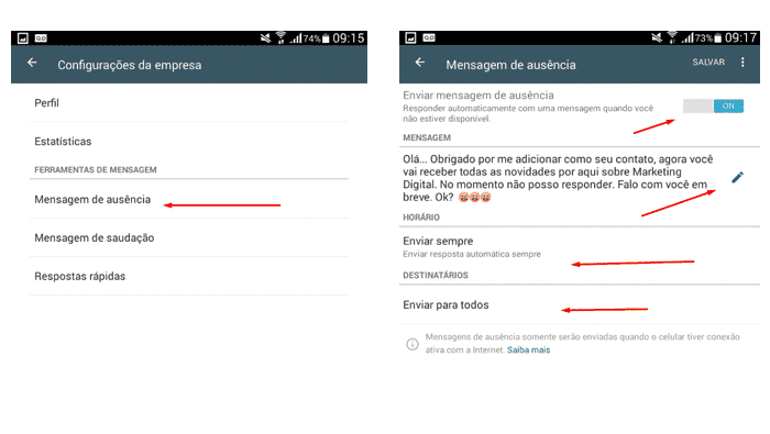 Como cadastrar mensagens automáticas no WhatsApp Busines