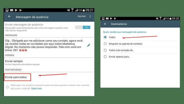 Cadastrando os destinatários no WhatsApp Business