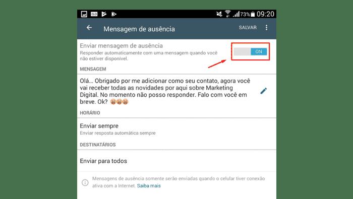 Definindo e Salvando as Informações do Público no WhatsApp Business