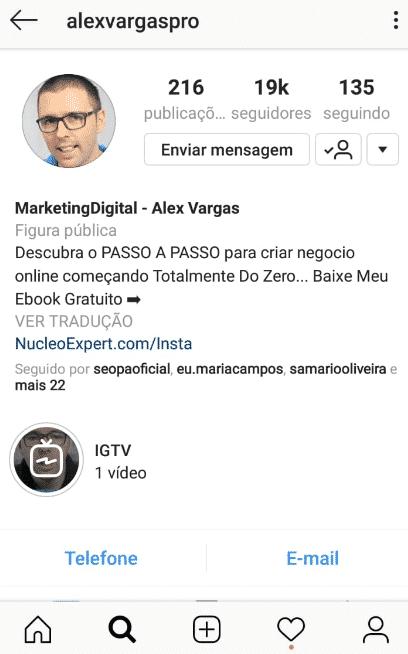 Exemplo de perfil comercial no Instagram