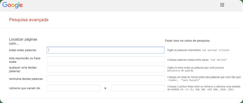 Buscas avançadas no Google de forma otimizada.