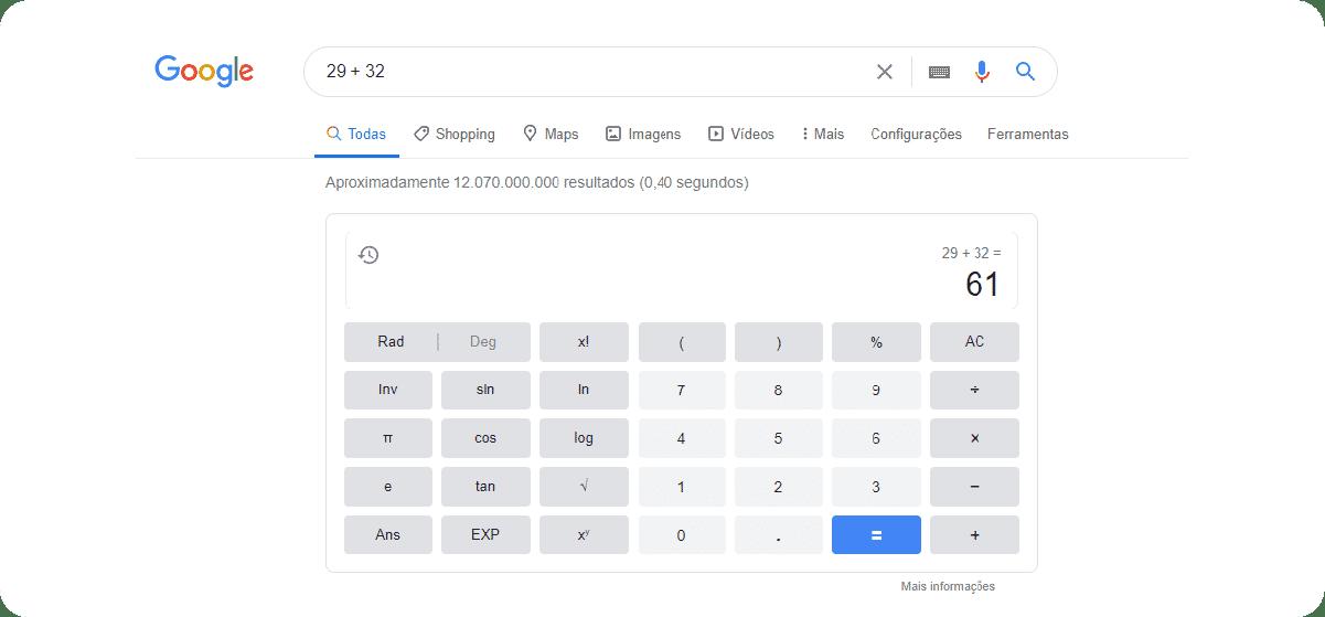 Operações matemáticas nas Buscas avançadas no Google