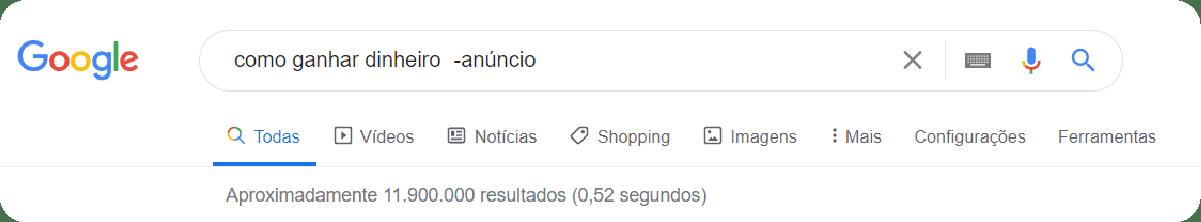 Buscas avançadas no Google com exclusão de anúncios