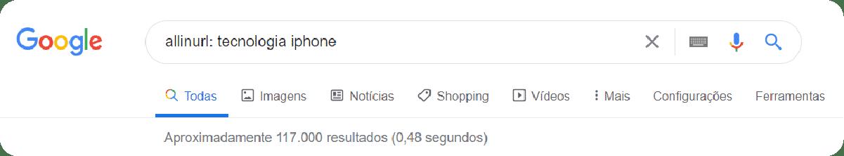Buscas avançadas no Google com palavra-chave na URL